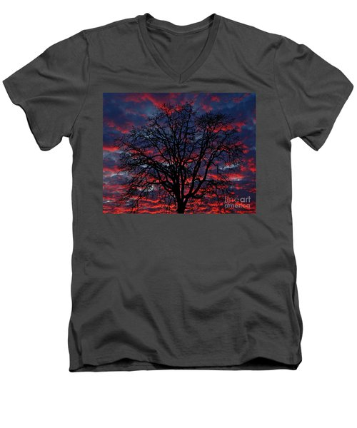 Lake Oswego Sunset Men's V-Neck T-Shirt by Nick  Boren