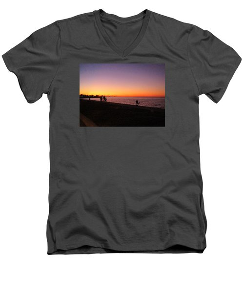 Lake Pontchartrain Sunset Men's V-Neck T-Shirt by Deborah Lacoste
