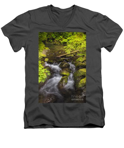 Lake Quinault Creek 2 Men's V-Neck T-Shirt by Sonya Lang