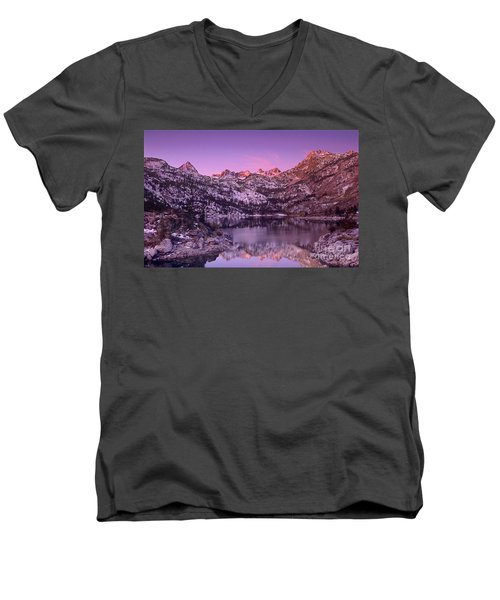 Lake Sabrina Sunrise Eastern Sierras California Men's V-Neck T-Shirt by Dave Welling