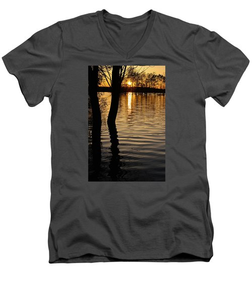 Men's V-Neck T-Shirt featuring the photograph Lake Silhouettes by Julie Andel