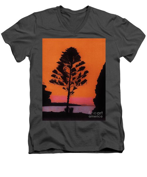 Men's V-Neck T-Shirt featuring the drawing Lake Sunset by D Hackett