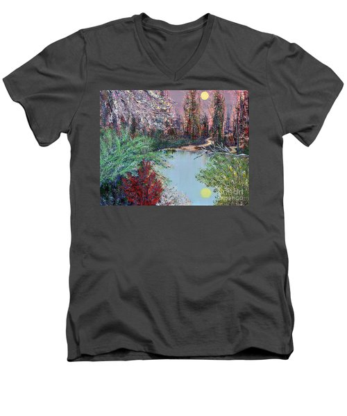 Lake Tranquility Men's V-Neck T-Shirt by Alys Caviness-Gober