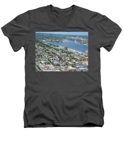 Lake Union Panorama Men's V-Neck T-Shirt by David Trotter