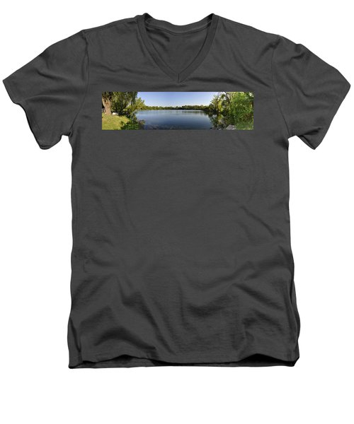Men's V-Neck T-Shirt featuring the photograph Lake Victory by Verana Stark