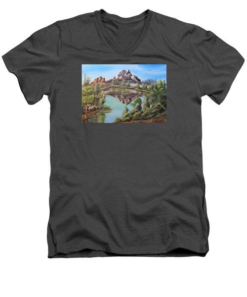 Lakehouse Men's V-Neck T-Shirt by Remegio Onia
