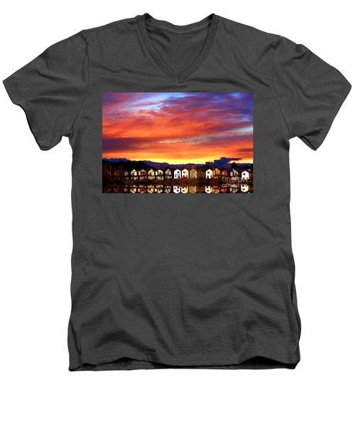 Lakeside Reflections Men's V-Neck T-Shirt by Nick Gustafson