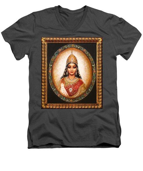 Men's V-Neck T-Shirt featuring the painting Lakshmi Goddess Of Abundance by Ananda Vdovic