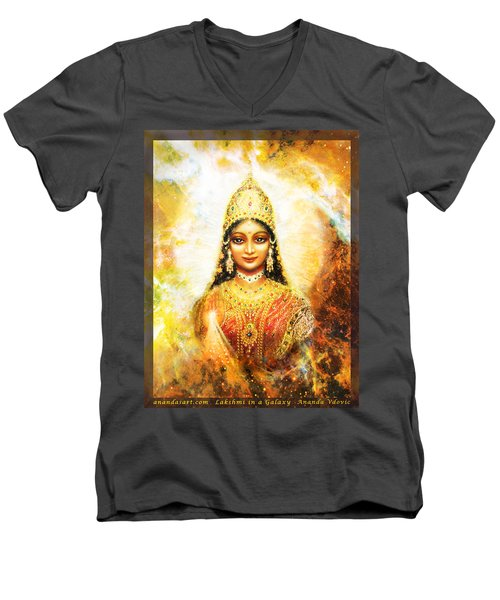 Men's V-Neck T-Shirt featuring the mixed media Lakshmi Goddess Of Abundance In A Galaxy by Ananda Vdovic