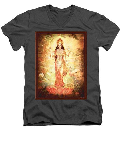 Lakshmi Goddess Of Fortune Vintage Men's V-Neck T-Shirt