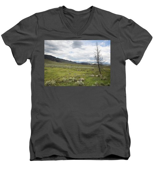 Men's V-Neck T-Shirt featuring the photograph Lamar Valley No. 1 by Belinda Greb