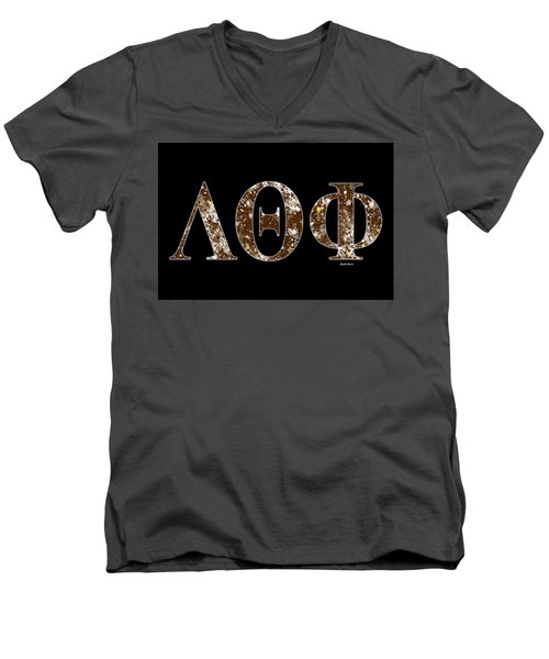 Men's V-Neck T-Shirt featuring the digital art Lambda Theta Phi - Black by Stephen Younts