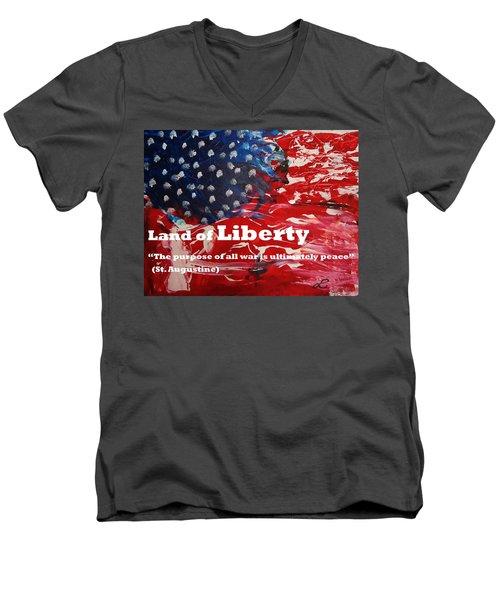 Land Of Liberty Print Men's V-Neck T-Shirt