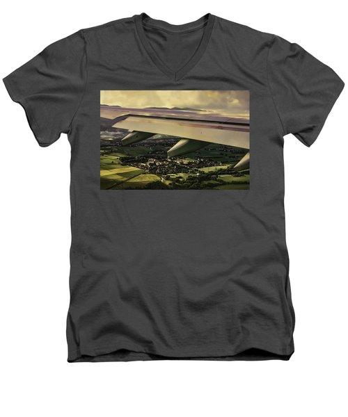 Men's V-Neck T-Shirt featuring the painting Landing by Muhie Kanawati