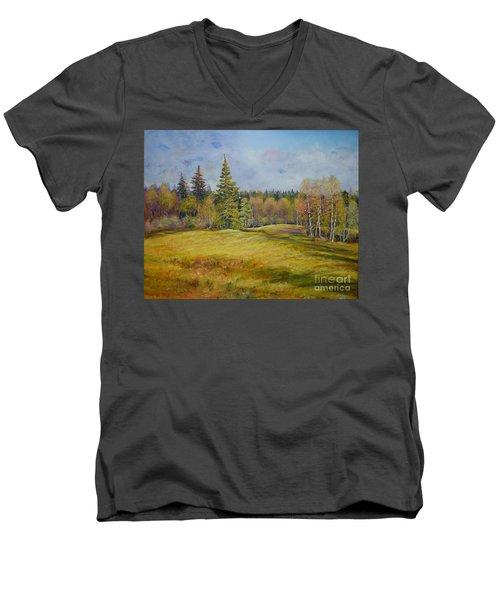 Landscape From Pyhajarvi Men's V-Neck T-Shirt