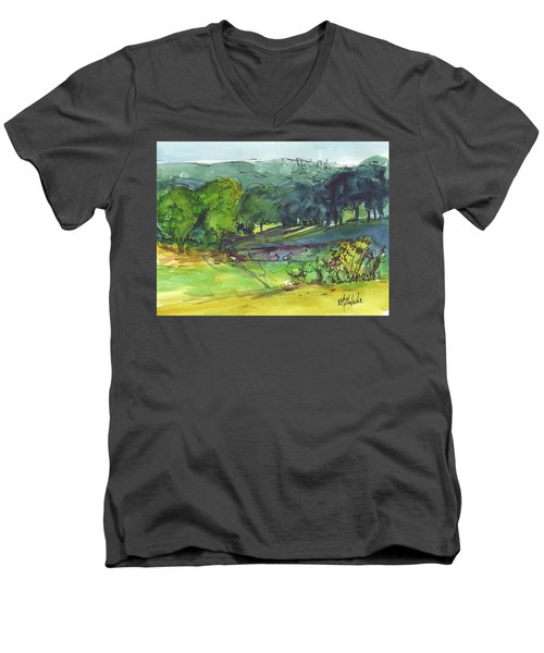 Landscape Lakeway Texas Watercolor Painting By Kmcelwaine Men's V-Neck T-Shirt