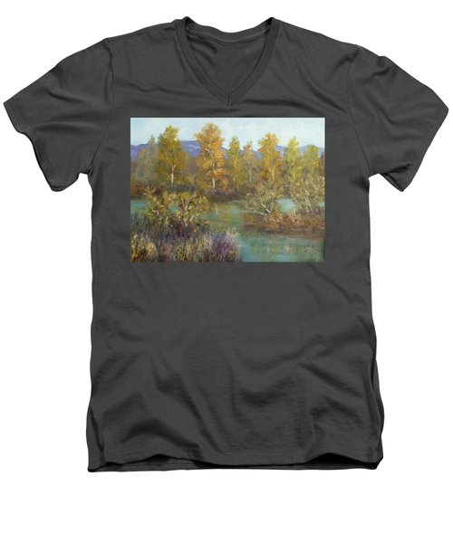 Landscape River And Trees Paintings Men's V-Neck T-Shirt