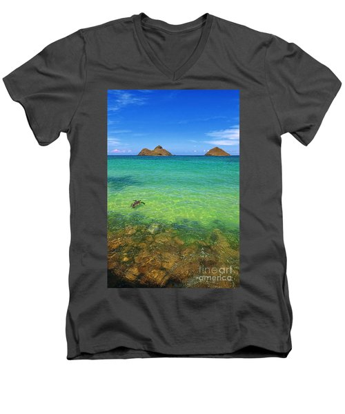 Men's V-Neck T-Shirt featuring the photograph Lanikai Beach Sea Turtle by Aloha Art