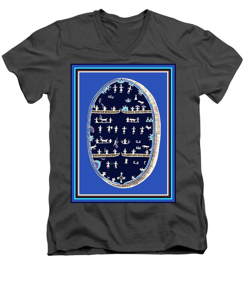 Lappish Shaman's Ritual Drum Men's V-Neck T-Shirt
