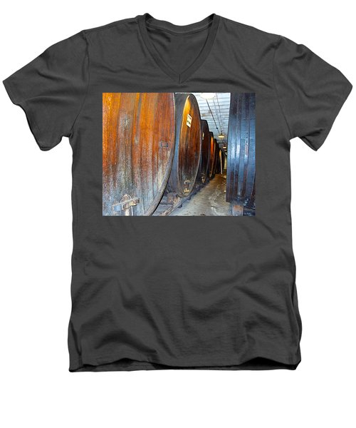 Large Barrels At Korbel Winery In Russian River Valley-ca Men's V-Neck T-Shirt by Ruth Hager