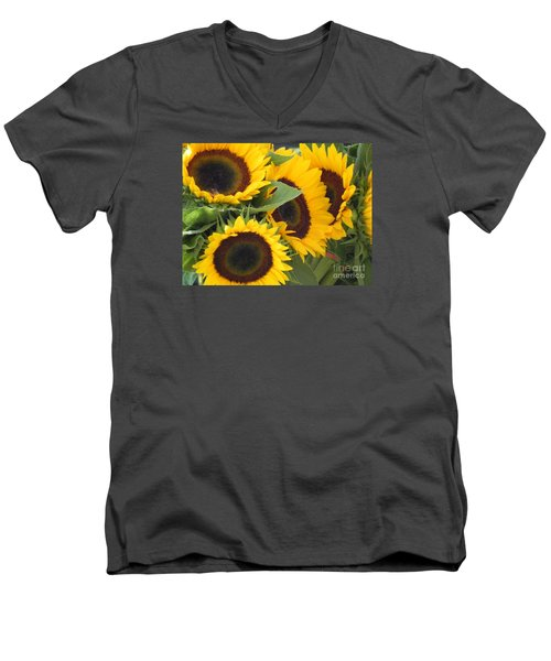 Men's V-Neck T-Shirt featuring the photograph Large Sunflowers by Chrisann Ellis