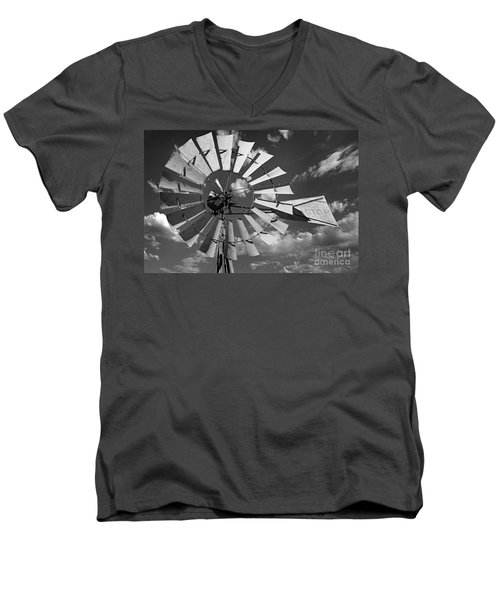 Large Windmill In Black And White Men's V-Neck T-Shirt