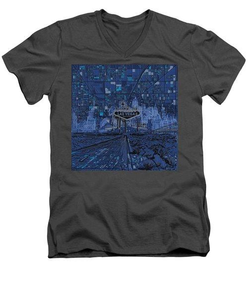 Las Vegas Skyline Men's V-Neck T-Shirt by Bekim Art