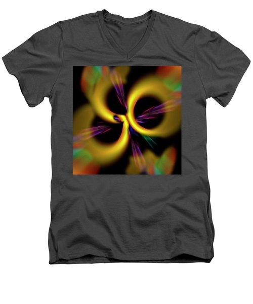 Laser Lights Abstract Men's V-Neck T-Shirt by Carolyn Marshall