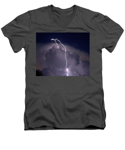 Men's V-Neck T-Shirt featuring the photograph Lashing Out by Charlotte Schafer