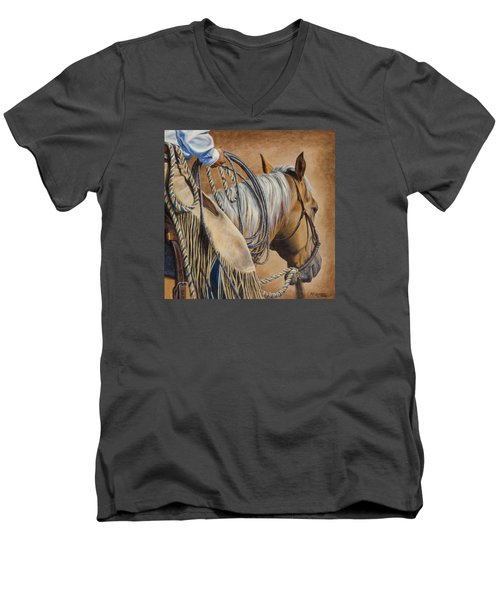 Men's V-Neck T-Shirt featuring the painting Lariat And Leather by Kim Lockman