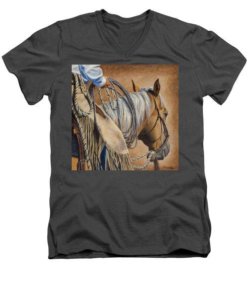 Lariat And Leather Men's V-Neck T-Shirt