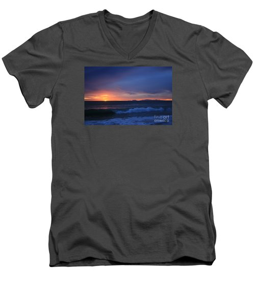 Men's V-Neck T-Shirt featuring the photograph Last Ray Of Sunlight At Pt Mugu With Wave by Ian Donley