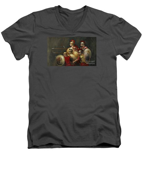 Men's V-Neck T-Shirt featuring the painting Last Stand by Arturas Slapsys