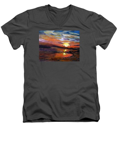 Men's V-Neck T-Shirt featuring the painting Last Sun Of Day by Michael Helfen