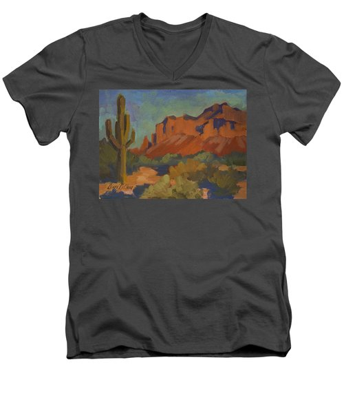 Late Afternoon Light At Superstition Mountain Men's V-Neck T-Shirt