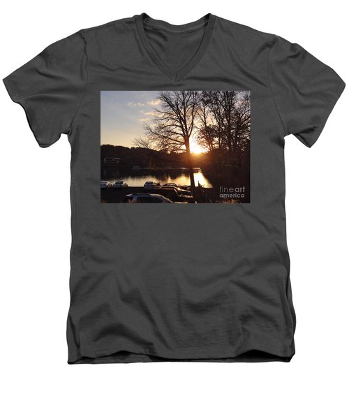 Late Fall At The Station Men's V-Neck T-Shirt