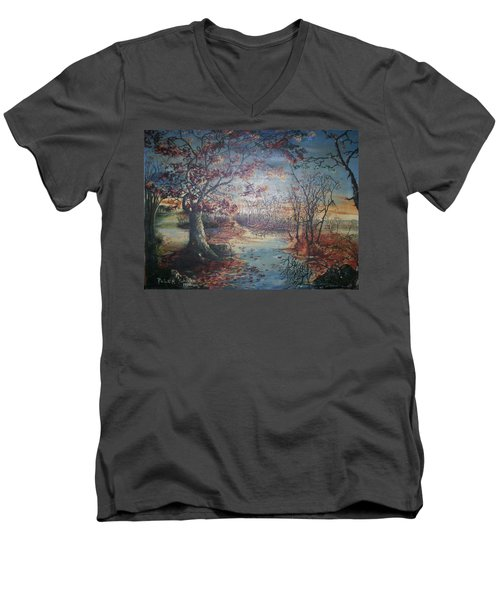 Men's V-Neck T-Shirt featuring the painting Late Fall by Peter Suhocke
