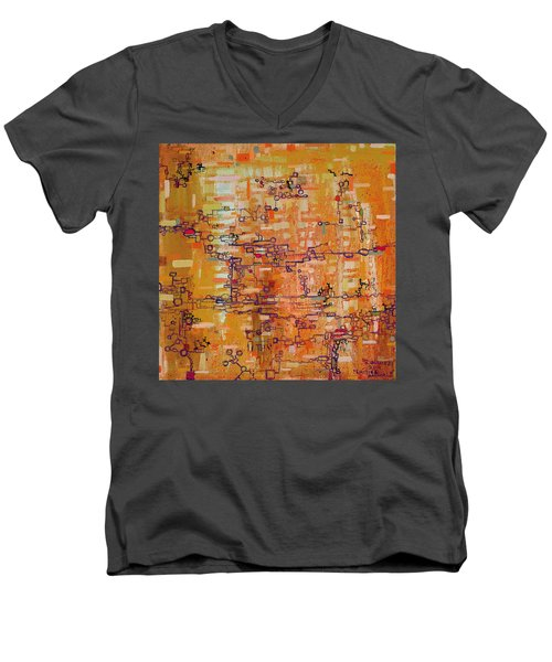 Lattice Animals Abstract Oil Painting By Regina Valluzzi Men's V-Neck T-Shirt