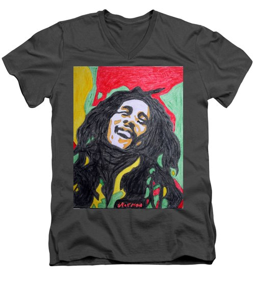 Men's V-Neck T-Shirt featuring the painting Happy Bob Marley  by Stormm Bradshaw