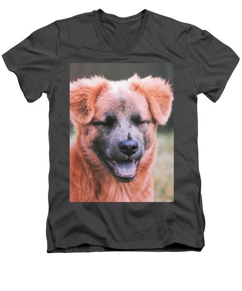 Laughing Dog Men's V-Neck T-Shirt by Belinda Lee