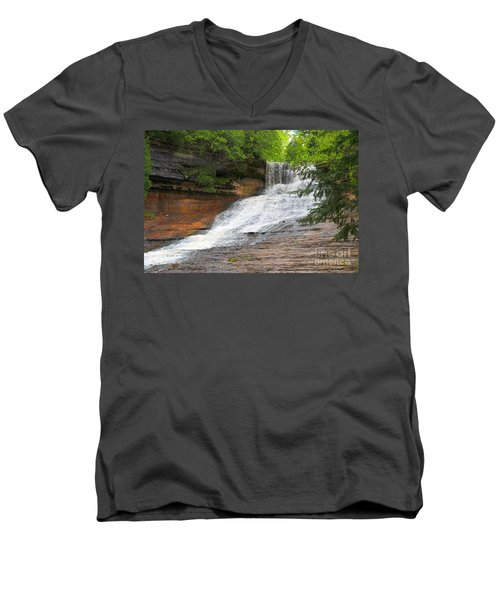 Men's V-Neck T-Shirt featuring the photograph Laughing Whitefish Waterfall by Terri Gostola