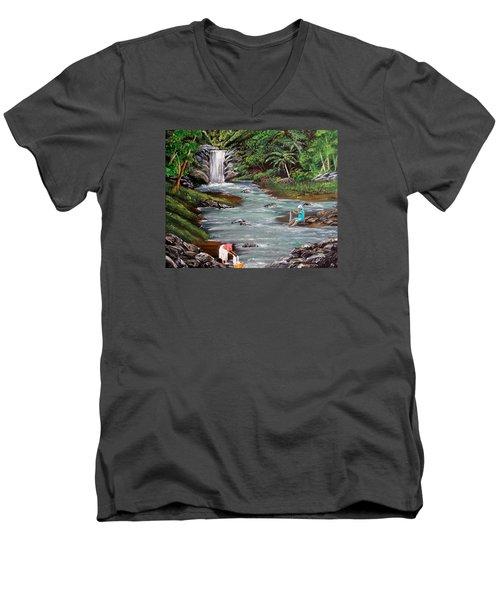 Lavando Ropa Men's V-Neck T-Shirt by Luis F Rodriguez