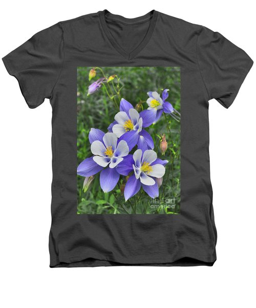 Men's V-Neck T-Shirt featuring the digital art Lavender And White Star Flowers by Mae Wertz