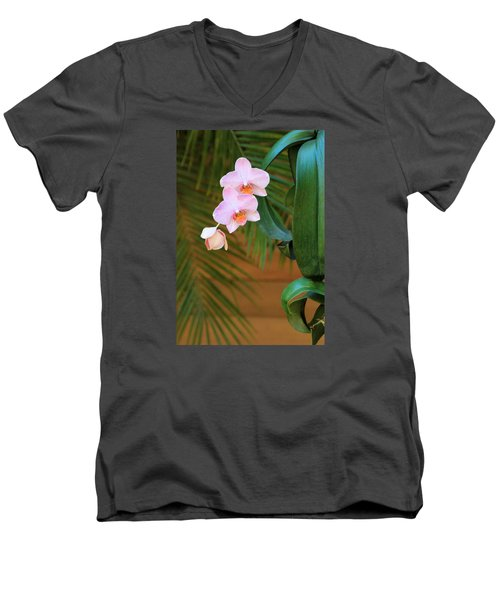 Men's V-Neck T-Shirt featuring the photograph Lavender Dendrobium Orchids by Rosalie Scanlon