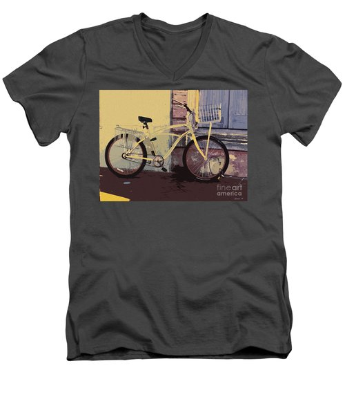 Men's V-Neck T-Shirt featuring the photograph Lavender Door And Yellow Bike by Ecinja Art Works