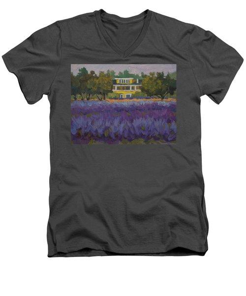 Lavender Farm On Vashon Island Men's V-Neck T-Shirt by Diane McClary