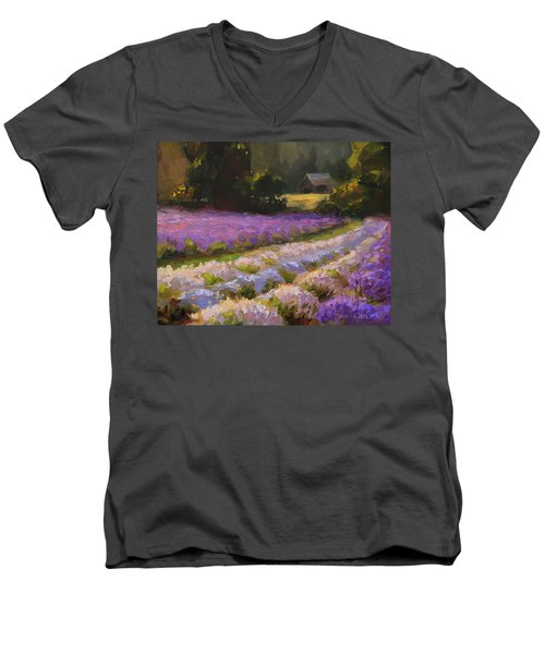Lavender Farm Landscape Painting - Barn And Field At Sunset Impressionism  Men's V-Neck T-Shirt