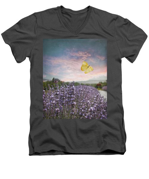 Lavender Field Pink And Blue Sunset And Yellow Butterfly Men's V-Neck T-Shirt by Brooke T Ryan