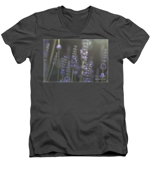 Men's V-Neck T-Shirt featuring the photograph Lavender Flare. by Clare Bambers