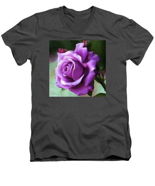 Lavender Lady Men's V-Neck T-Shirt by RC deWinter
